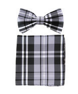 New men's pre tied Bow tie & Pocket Square Hankie plaid  Black Gray White - ₨563.77 INR