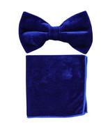New formal men's pre tied Bow tie & Pocket Square Hankie Velvet  Royal Blue - $15.99