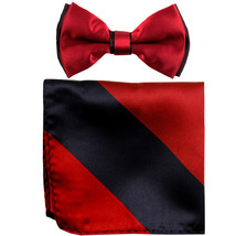 New Men's Two Layer Tones Pre-tied Bow Tie & Hankie Set  Red Black - $10.99
