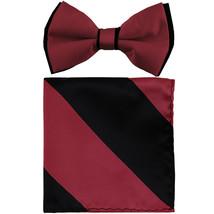 New Men's Two Layer Tones Pre-tied Bow Tie & Hankie Set  Burgundy Black - $10.99