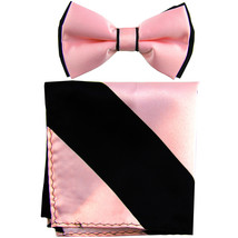 New Men's Two Layer Tones Pre-tied Bow Tie & Hankie Set  Pink Black - $10.99