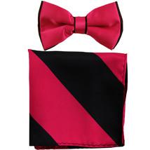 New Men's Two Layer Tones Pre-tied Bow Tie & Hankie Set  Hot Pink Black - $10.99