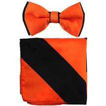 New Men's Two Layer Tones Pre-tied Bow Tie & Hankie Set  Orange Black - $10.99