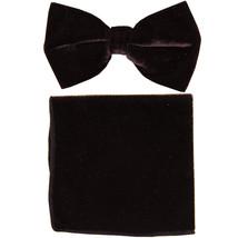 New formal men's pre tied Bow tie & Pocket Square Hankie Velvet  Brown - $15.99
