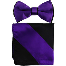 New Men's Two Layer Tones Pre-tied Bow Tie & Hankie Set  Purple Black - $10.99