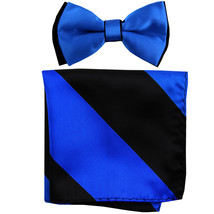 New Men's Two Layer Tones Pre-tied Bow Tie & Hankie Set  Royal Blue Black - $10.99