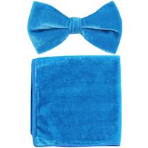 New formal men's pre tied Bow tie & Pocket Square Hankie Velvet  Turquoise - $15.99