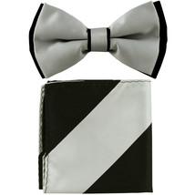 New Men's Two Layer Tones Pre-tied Bow Tie & Hankie Set  Silver Black - $10.99