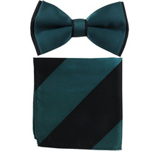 New Men's Two Layer Tones Pre-tied Bow Tie & Hankie Set  Sapphire Blue B... - $10.99
