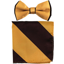 New Men's Two Layer Tones Pre-tied Bow Tie & Hankie Set  Gold Brown - $10.99