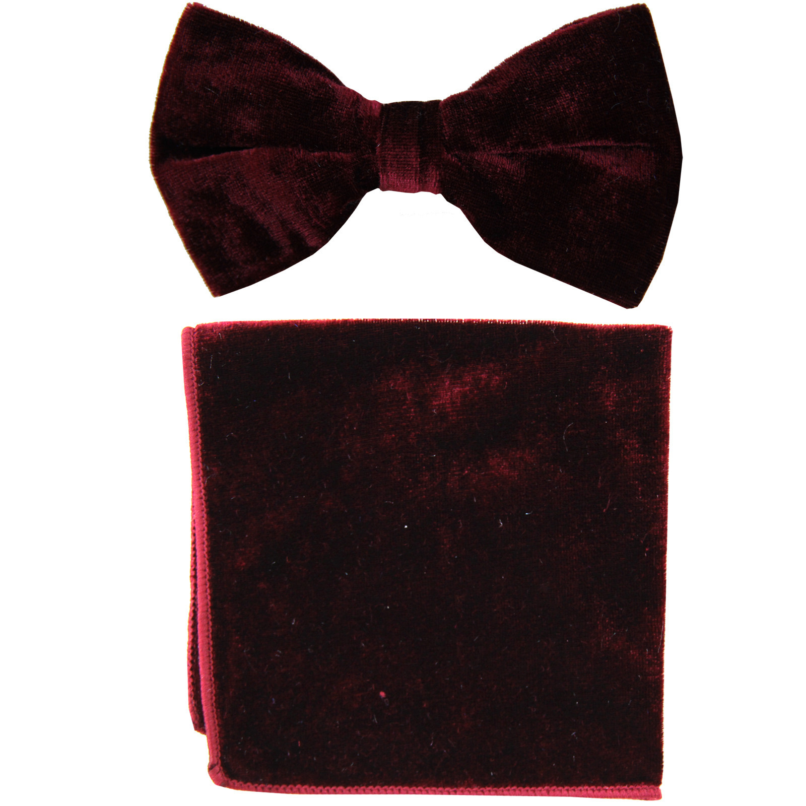 New formal men's pre tied Bow tie & Pocket Square Hankie Velvet  Burgundy