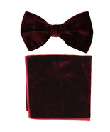 New formal men's pre tied Bow tie & Pocket Square Hankie Velvet  Burgundy - $15.99