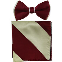 New Men's Two Layer Tones Pre-tied Bow Tie & Hankie Set  Burgundy Silver - $10.99