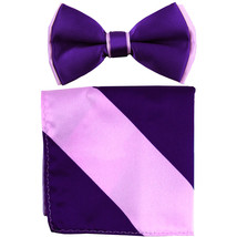 New Men's Two Layer Tones Pre-tied Bow Tie & Hankie Set  Purple Lavender - $10.99