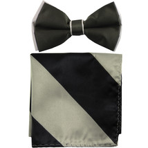 New Men's Two Layer Tones Pre-tied Bow Tie & Hankie Set  Charcoal Gray - $10.99