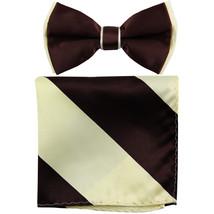 New Men's Two Layer Tones Pre-tied Bow Tie & Hankie Set  Brown Beige - $10.99
