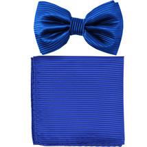 New formal men's pre tied Bow tie & Pocket Square Hankie stripes  Royal ... - $8.75