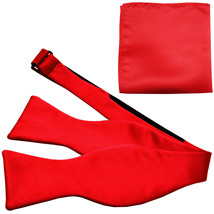 New Men's 100% Polyester Solid Formal Self-tied Bow Tie & hankie set  Red - $11.50
