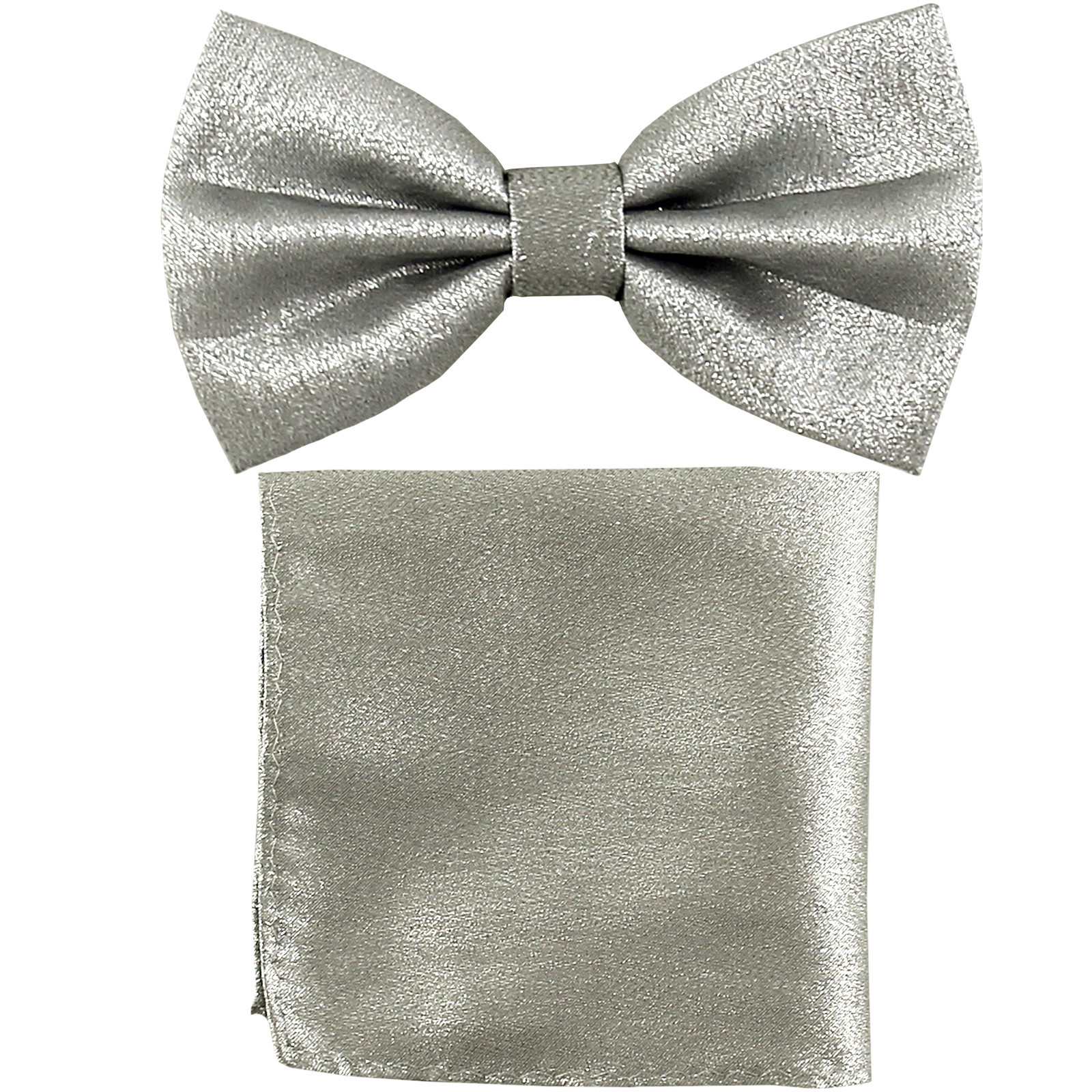New Men's Glitter Pre-tied Bow Tie Bowtie Pocket Square Hanky Set  Silver