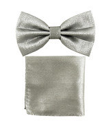 New Men's Glitter Pre-tied Bow Tie Bowtie Pocket Square Hanky Set  Silver - $11.50