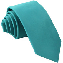"New Polyester Men's 2.5"" skinny Neck Tie only solid formal work white  Aqua Blue - $7.25"