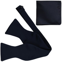 New Men's 100% Polyester Solid Formal Self-tied Bow Tie & hankie set  Navy - $11.50