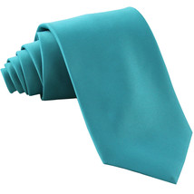 New Polyester Men's Neck Tie only solid formal prom party work  Aqua Blue - $6.50