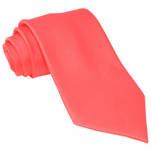 New Polyester Men's Neck Tie only solid formal wedding prom party work  Coral - $6.50