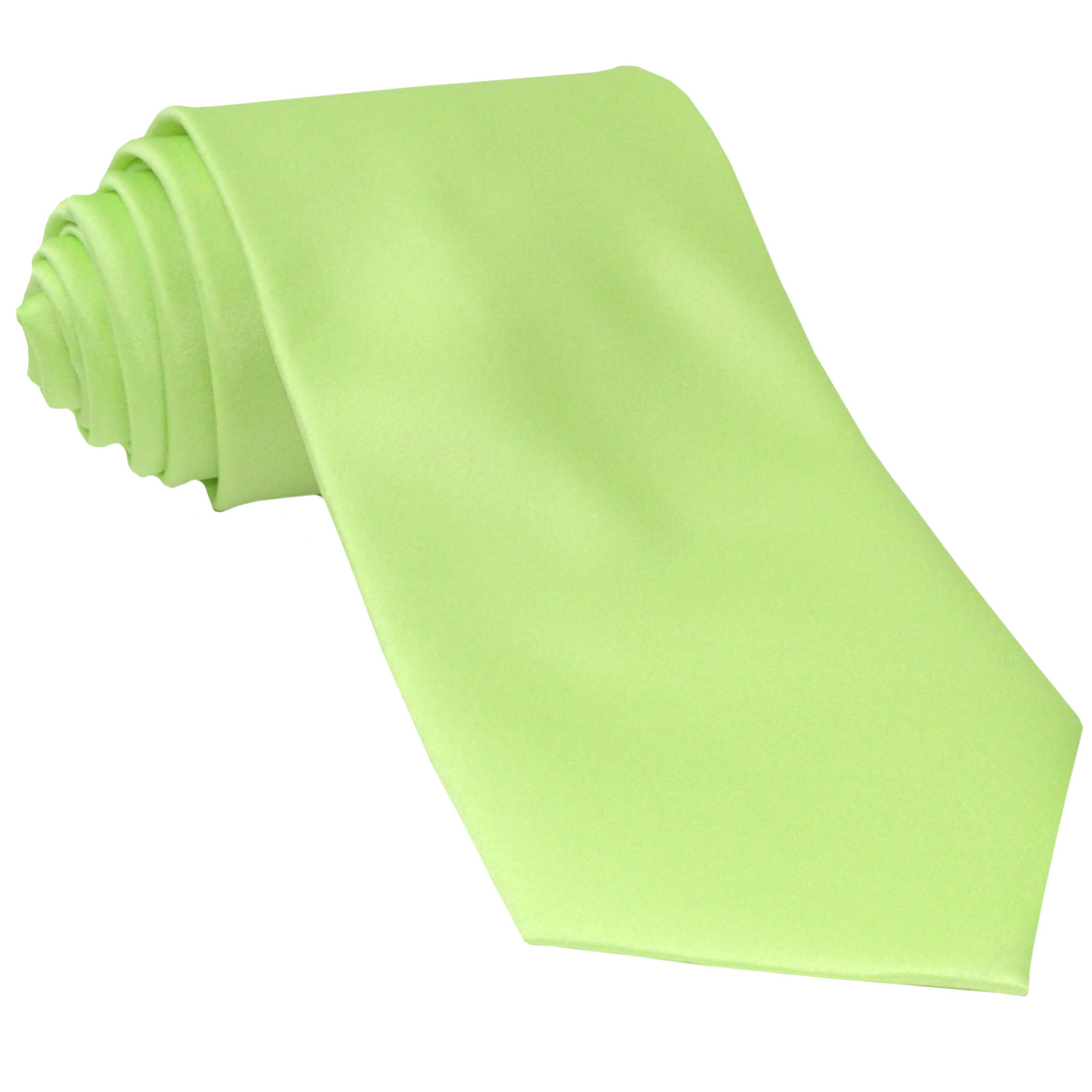 New Polyester Men's Neck Tie only solid formal prom party work  Lime Green