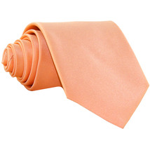 New Polyester Men's Neck Tie only solid formal wedding prom party work  Peach - $6.50