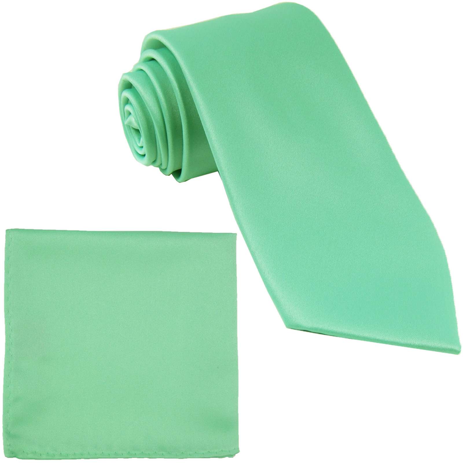 New Polyester Men's Neck Tie & hankie solid formal prom uniform  Aqua Green