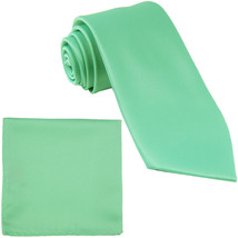 New Polyester Men's Neck Tie & hankie solid formal prom uniform  Aqua Green - $7.50