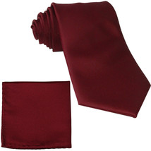 New Polyester Men's Neck Tie & hankie solid formal prom uniform  Burgundy - $7.50