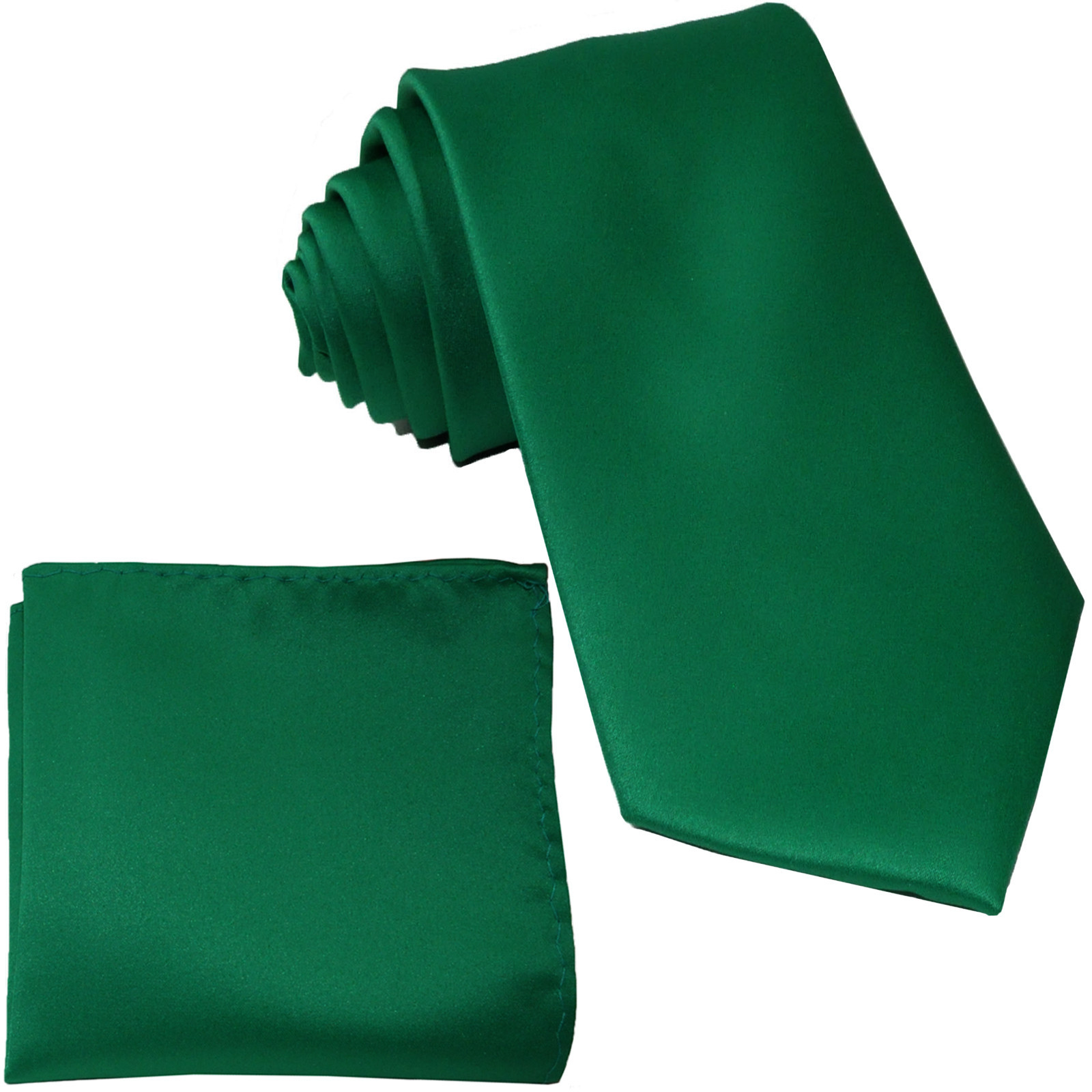 New Polyester Men's Neck Tie & hankie solid formal prom uniform  Emerald Green