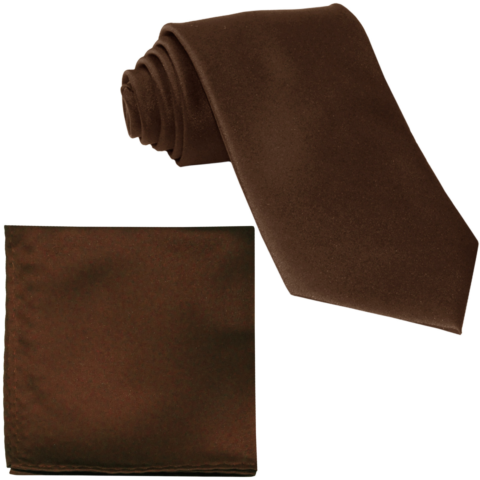 New Polyester Men's Neck Tie & hankie solid formal wedding prom uniform  Brown
