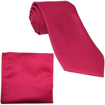 New Polyester Men's Neck Tie & hankie solid formal prom uniform  Hot Pink - $7.50