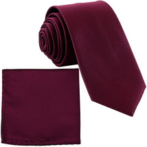 New Polyester Men's Neck Tie & hankie solid formal prom uniform  Eggplant - $7.50