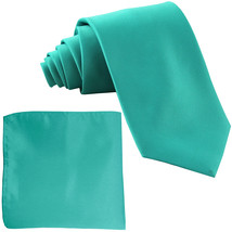 New Polyester Men's Neck Tie & hankie solid formal prom uniform  Aqua Blue - $7.50