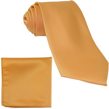 New Polyester Men's Neck Tie & hankie solid formal wedding prom uniform  Gold - $7.50