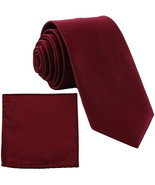 "New Polyester Men's 2.5"" skinny Neck Tie & hankie set solid formal  Burg... - $8.75"