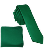 "New Polyester Men's 1.5"" skinny Neck Tie & hankie set solid  Emerald Green - $8.75"