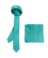 "New Polyester Men's 1.5"" skinny Neck Tie & hankie set solid formal  Aqua... - $8.75"