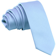 "New Polyester Men's 2.5"" skinny Neck Tie only solid work white  Light Blue - $7.25"