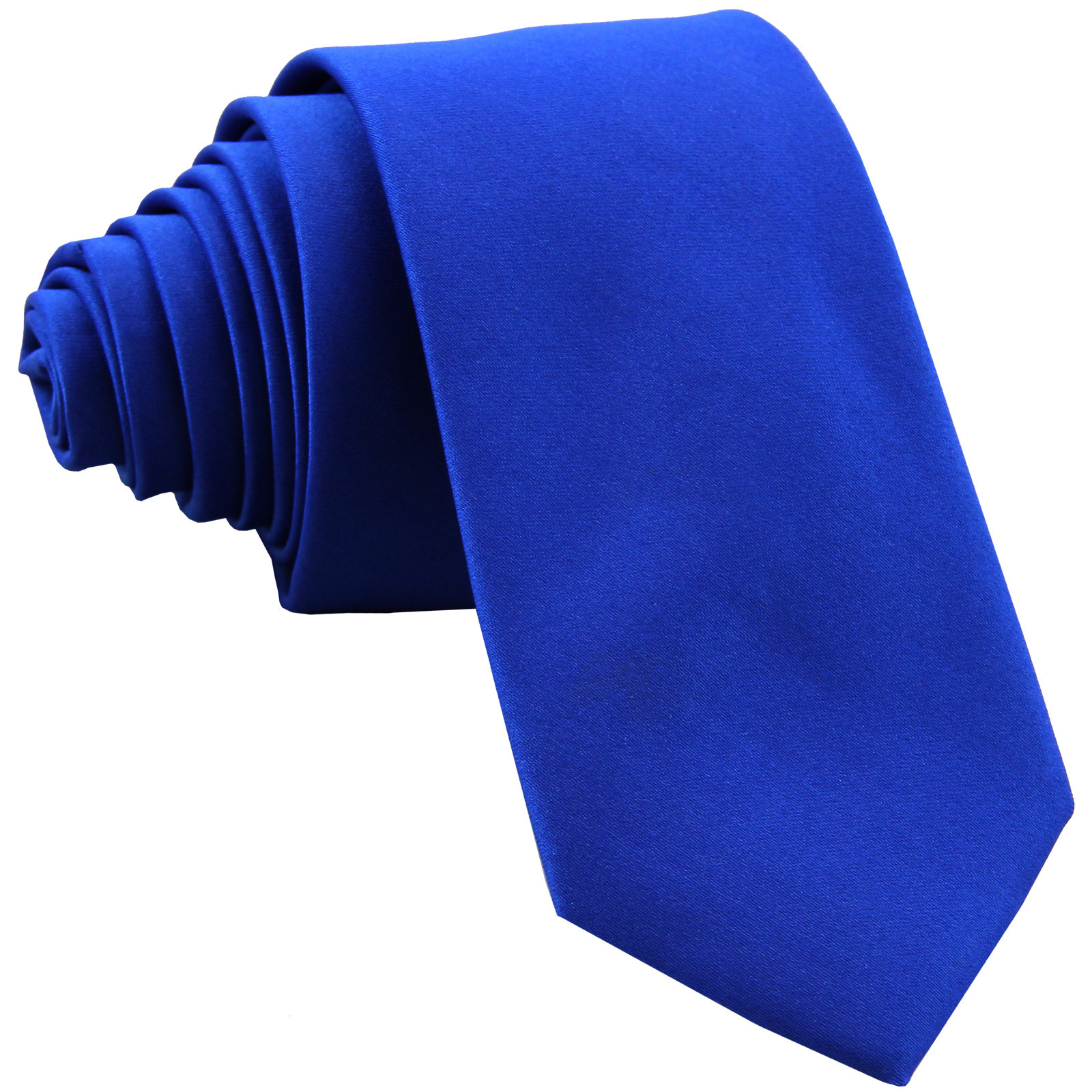 "New Polyester Men's 2.5"" skinny Neck Tie only solid work white  Royal Blue"