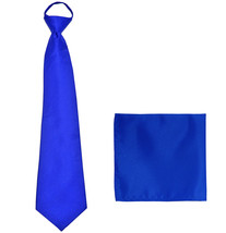 New Polyester Men's pre tied neck tie & hankie solid formal prom  Royal ... - $9.75