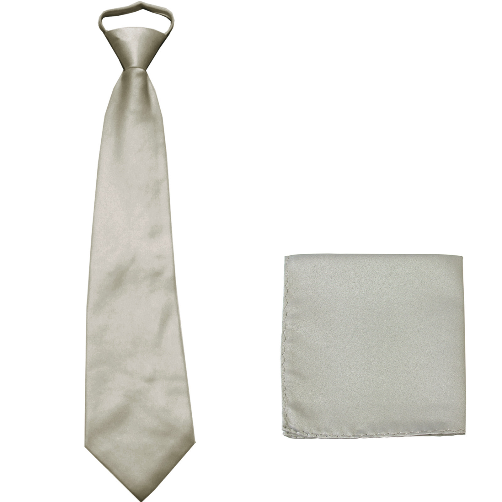 New Polyester Men's pre tied neck tie & hankie solid formal wedding prom  Silver