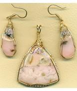 Pink Opal Gold Wire Wrap Pendant Earrings Set 8 - $125.52