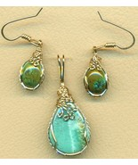 Turquoise Gold Wire Wrap Pendant Earrings Set 10 - $89.99