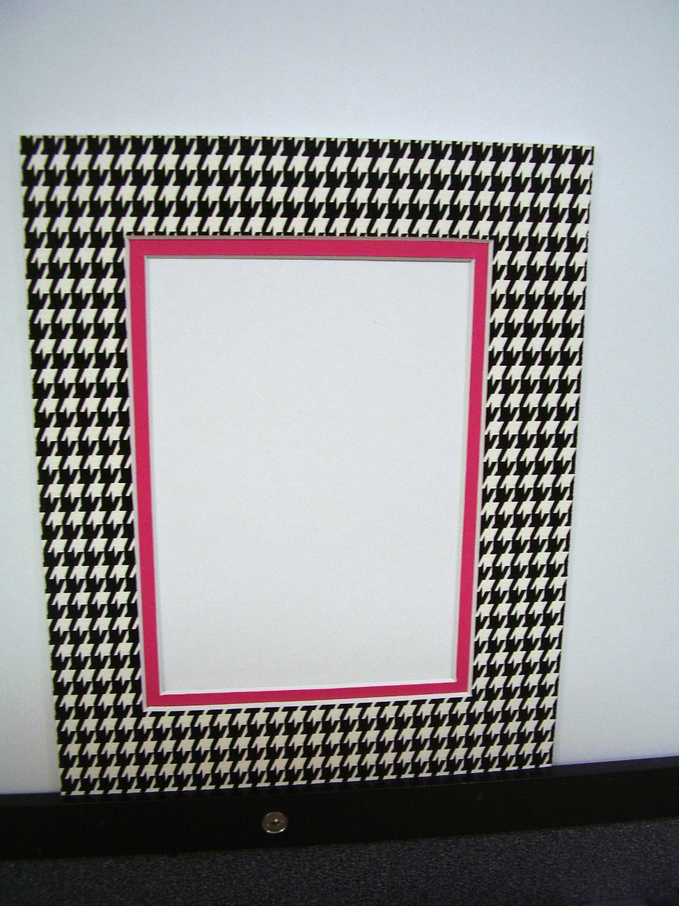 Primary image for Picture Frame Double Mat 11x14 for 8x10 photo Houndstooth Black White Hot Pink