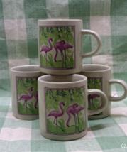 Set of 4 vintage Demitasse Cups // Pink Flamingo Design // Espresso Cups - $14.00
